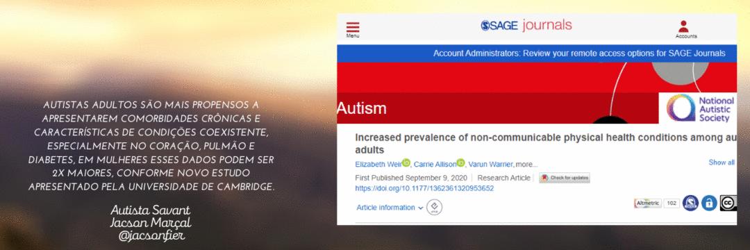 Autistas adultos são mais propensos a apresentarem comorbidades crônicas e Condições Coexistentes.