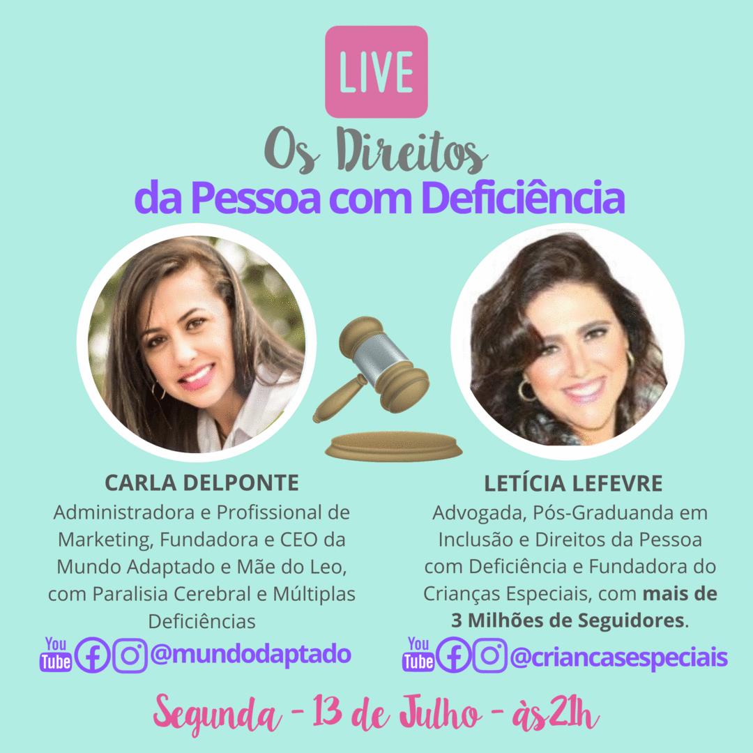 Live sobre Direitos da Pessoa com Deficiência é hoje, às21 no Instagram da Mundo Adaptado!